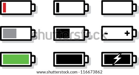 vector battery gauge symbol icons - stock vector