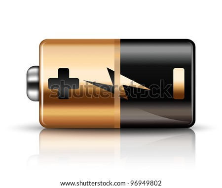 Vector Battery Icon on a white background - stock vector