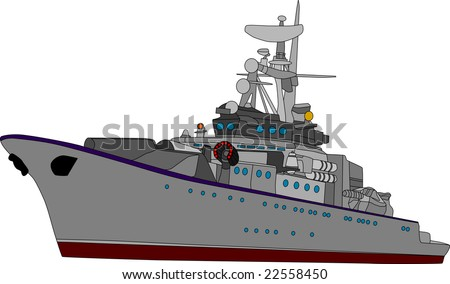 vector battle ship isolated on white background - stock vector