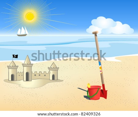 Vector beach and sea - stock vector