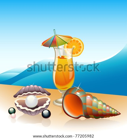 Vector Beach Cocktail - stock vector