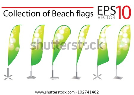 Vector Beach Flag banner stand display with identity background ready for use. Vector template for design work - stock vector