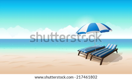 Vector beach landscape illustration chair beach umbrella - stock vector