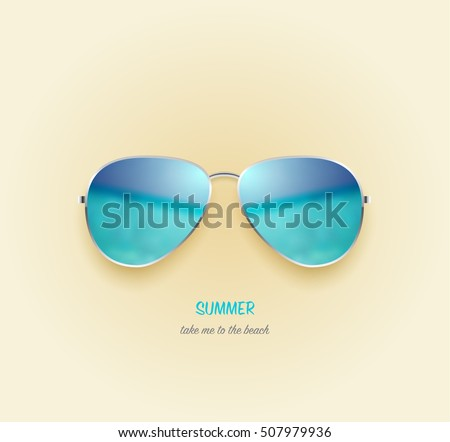 Vector beach sea and sky reflection sunglasses. Holiday design