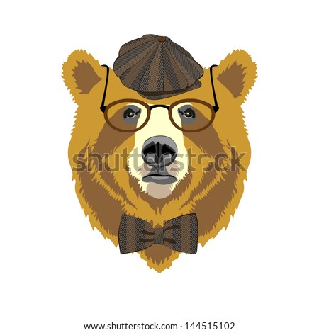 vector bear portrait in vintage golf style cap with bow and glasses - stock vector