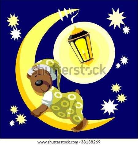 Vector. Bear sleep on moon color 17. More Cartoons see in portfolio - stock vector