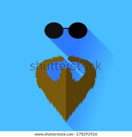 Vector Beard and Glasses Isolated on Blue Background - stock vector