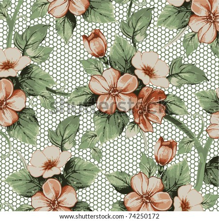 Vector. Beautiful background with flower drawing. - stock vector