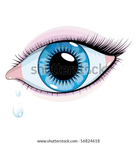 vector beautiful blue eyes woman on a white background - stock vector