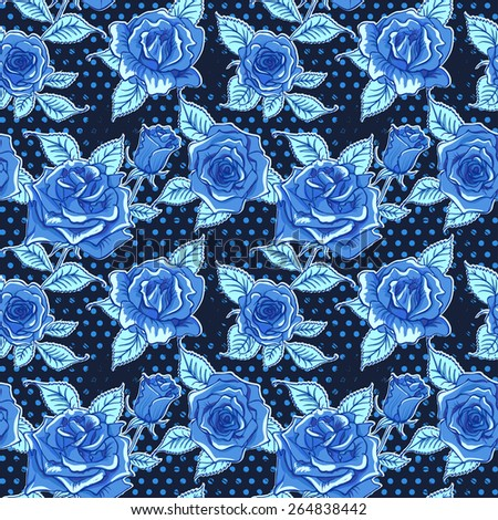 Vector Beautiful Blue Roses Background. Floral Seamless Pattern - stock vector