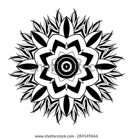 Vector Beautiful Deco Black Mandala, Patterned Design, Ethnic Amulet - stock vector