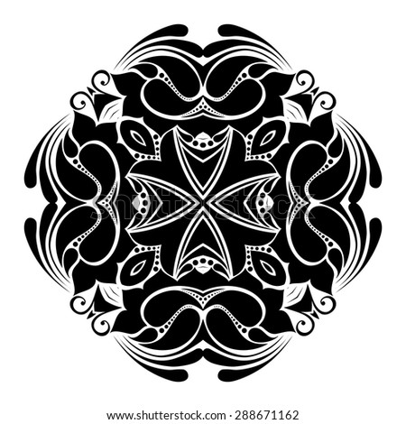 Vector Beautiful Deco Black Square, Patterned Design Element - stock vector