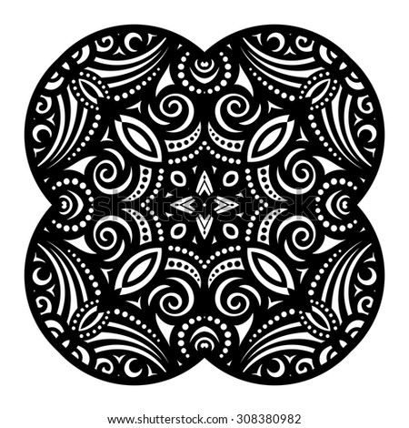 Vector Beautiful Deco Black Square, Patterned Design Element