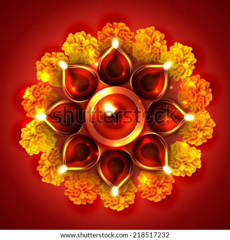 Vector beautiful diwali diya on a background - stock vector