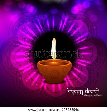 Vector beautiful diwali diya shiny colorful background - stock vector