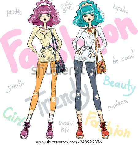 Vector beautiful fashion hipster girls top models in jeans, shirt, boots with bags in two color combinations - stock vector