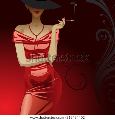 Vector beautiful fashion woman in red metallic party dress with a cigarette on dark red background with a decorative element - stock vector