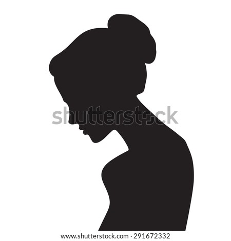 Vector beautiful female face silhouette in profile - stock vector