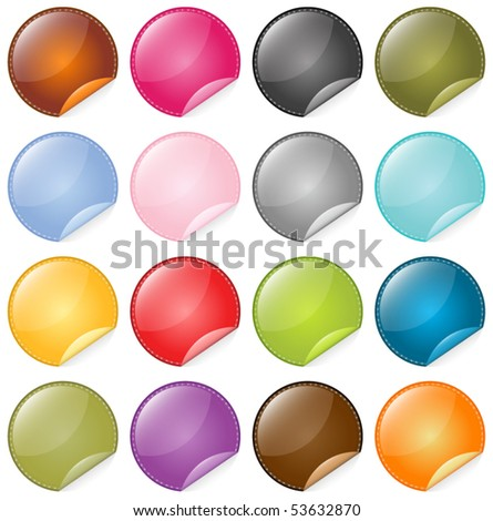 Vector Beautiful Glassy Icons Set - stock vector