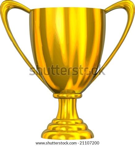 VECTOR: Beautiful golden trophy cup - stock vector