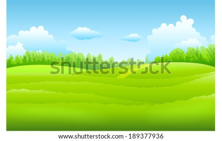 Vector beautiful Green Landscape with fields