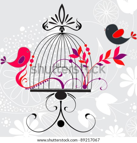 Vector beautiful hand drawn style floral romantic background with birds and cage