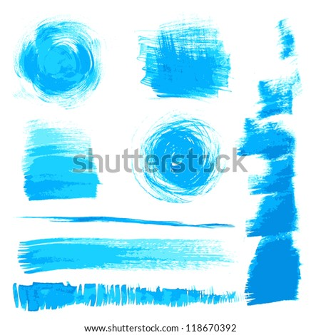 Vector beautiful handmade blue strokes painted by brush - stock vector