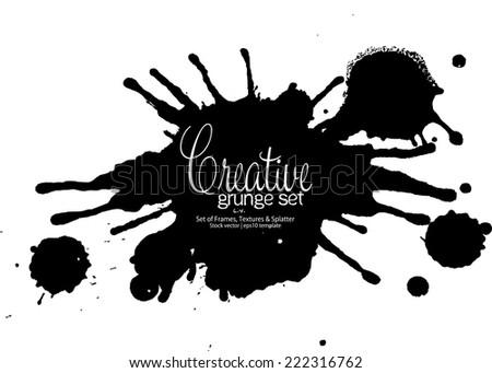 Vector beautiful handmade grunge black strokes - design template easy to edit - stock vector