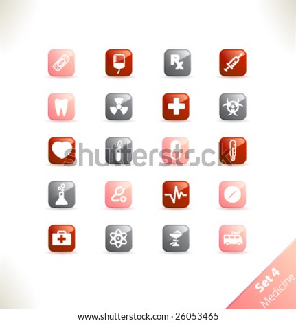 Vector beautiful icon set. Part 4 - Medicine - stock vector