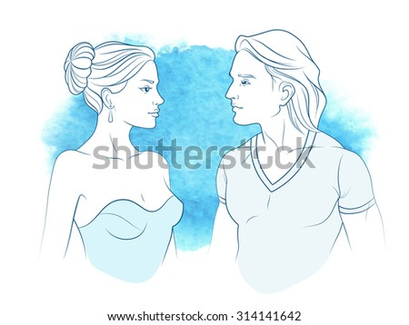 Vector beautiful man and woman in profile on watercolor blue background. Romantic date - stock vector
