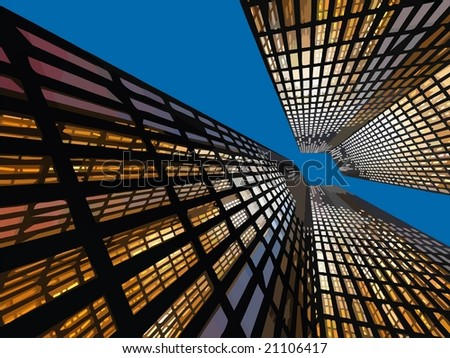 VECTOR: Beautiful office building - Background color can be changed. - stock vector