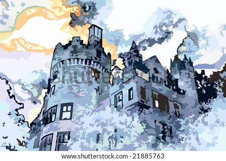 VECTOR: Beautiful old castle illustration - stock vector