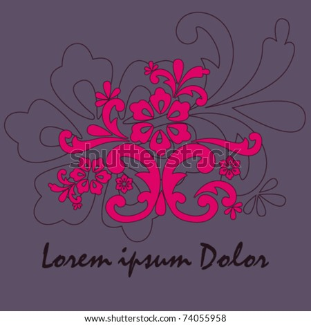 Vector beautiful purple floral background illustration - stock vector