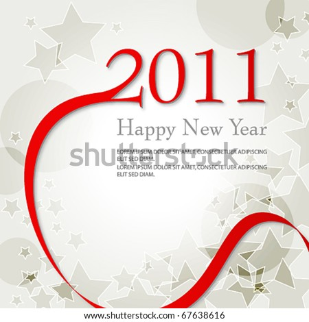 Vector beautiful red silver starry New Year's Illustration - stock vector