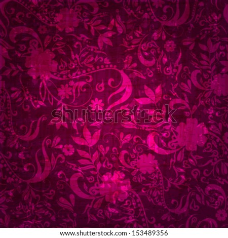 Vector beautiful seamless abstract retro grunge vintage floral background illustration - stock vector