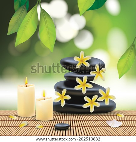 Vector Beautiful Spa Composition With Zen Stones, Illustration, Wallpaper for Family, Health-care, People