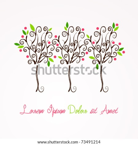Vector beautiful spring floral trees illustration - stock vector