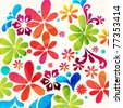 Vector beautiful summer floral background illustration - stock vector