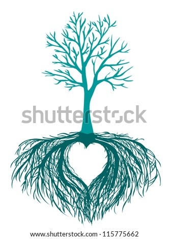 vector beautiful tree with the heart shaped root isolated white background - stock vector