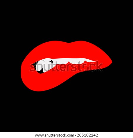 Vector beautiful woman's lips. Passion and appeal - stock vector
