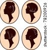 vector beautiful women and girl silhouettes with different hairstyle, set - stock