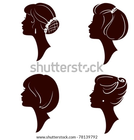vector beautiful women and girl silhouettes with different hairstyle, set - stock vector