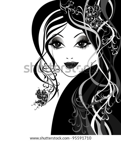 Vector Beautiful women with butterflies in hair - stock vector