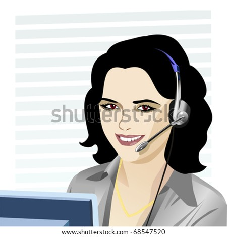 Vector beautiful young girl smiling brunette phone operator in headphones. One of a series of similar images