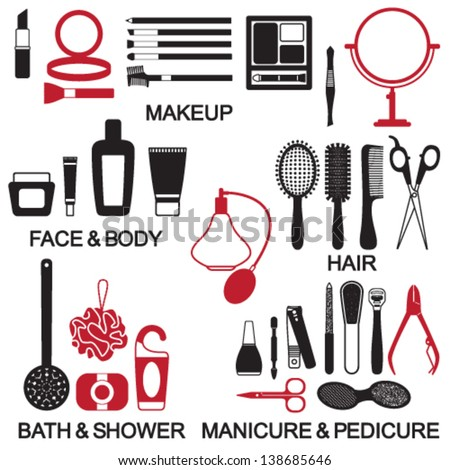 Vector beauty and care cosmetic products silhouette icons set - stock vector
