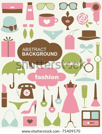 Vector beauty and fashion icons - stock vector