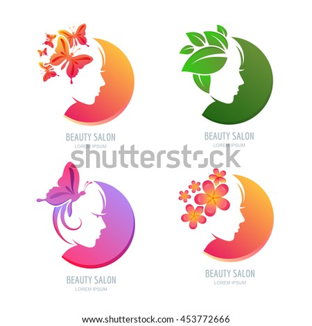 Vector beauty logo, label set. Female face in circle shape. Woman with butterflies, flowers and leaves in hair. Design elements for beauty salon, massage, spa, natural care cosmetics. - stock vector