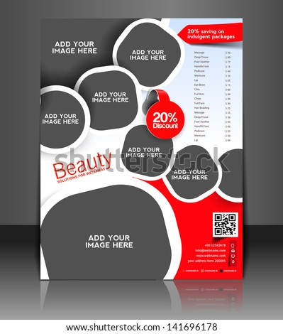 Vector Beauty Salon Brochure Flyer Magazine Stock Vector 141696178