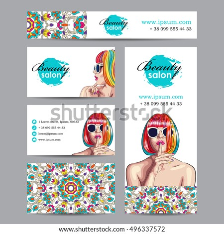 vector beauty salon card with woman wearing colorful wig. EPS