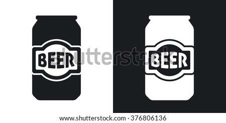 Vector beer can icon. Two-tone version on black and white background - stock vector